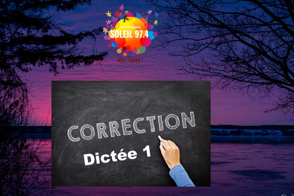 Classe 974 : correction dictée 1