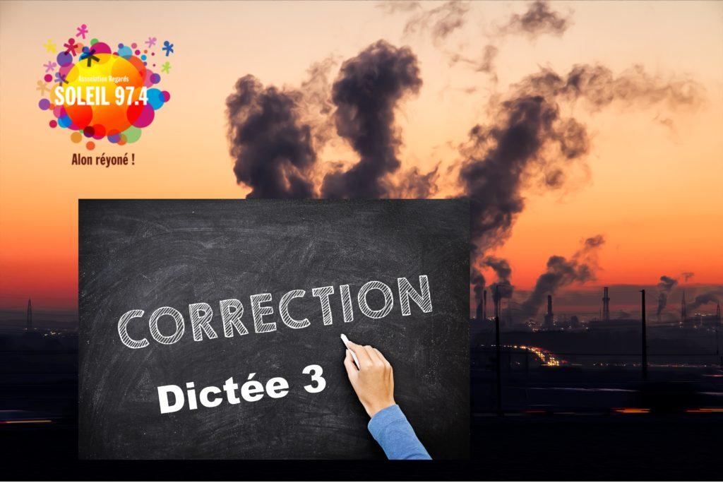 Classe 974 : correction Dictée 3