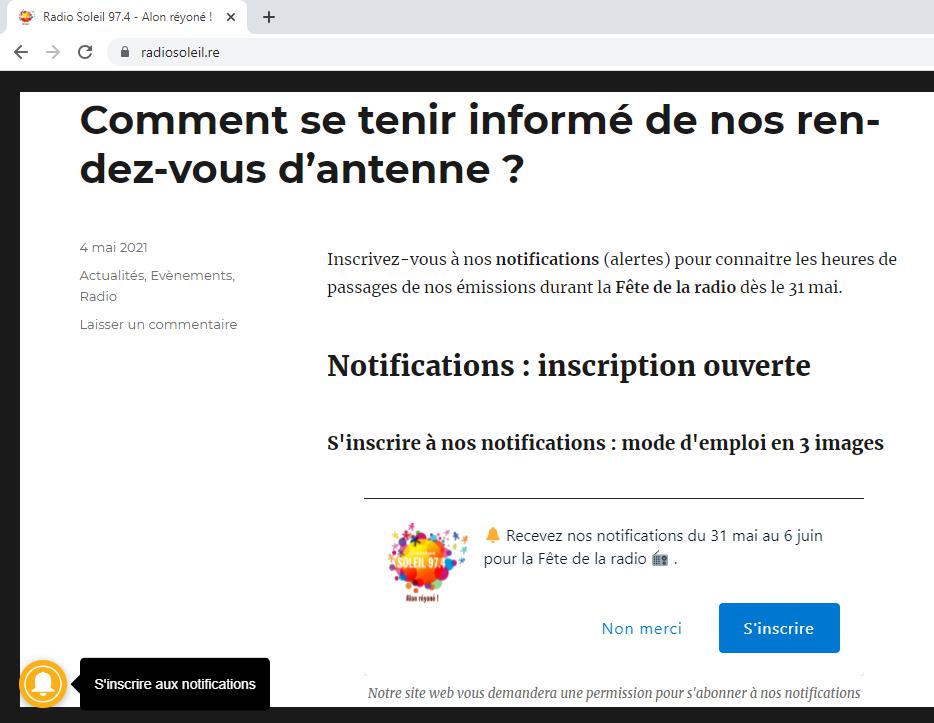 Notifications : inscription ouverte